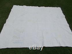 Vtg 1930s 9 Patch Quilt-Handmade/Machine Quilted-Country Blues-Flour Sack Back