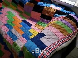 Vtg 1950s Handsewn Handmade Quilt Patchwork Rectangle coat of many colors USA