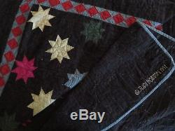 Vtg 1991 Judi Boisson American Country Twinkle Stars Handmade Quilt, Queen King