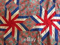Vtg 50s Patriotic Red White Blue Quilt Top Handmade 8Pt Star pinwheel 80x80 WOW