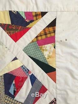 Vtg 60s 70s Crazy Quilt King REVERSIBLE105x105 Bedspread Handmade Retro Fabric