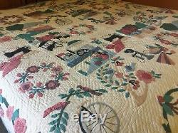 Vtg ARCH QUILTS NY Hand Stitched Handmade Appliqué Queen 98 X 86
