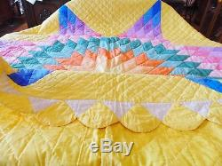 Vtg Antique 1940's Lone Star Quilt Wow Colors Handmade Hand Stitched 80x80