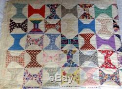 Vtg Antique Spool Quilt Americana 1930s Hand Stitched Handmade 66x82
