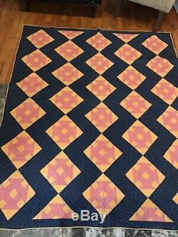 Vtg Antique quilt pieced Civil War Era Oranges Red Blue Stars Hand Quilted