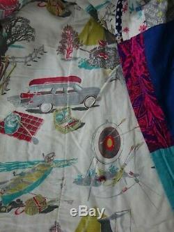Vtg Barkcloth Handmade Quilt Camping Fishing Shooting Canoe Picnic & Patchwork