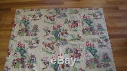 Vtg Barkcloth Handmade Quilt Comforter Western Cowboys Campfire Bucking Bronco