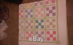 Vtg Block Fabric Handmade QUILT TOP Patchwork Large, 79 x 80 colorful