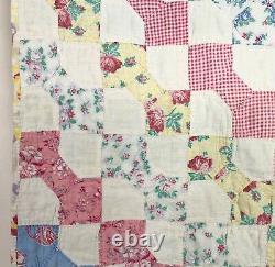 Vtg BowTie Patchwork Cutter Quilt Handmade Hand Quilted & Pieced 73x78 Distresse