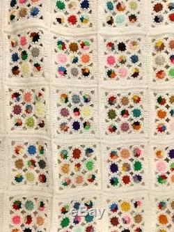 Vtg Granny Square Quilt Afghan Handmade Crochet Starburst Multi Color Blanket