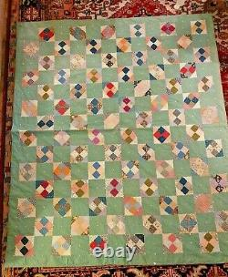 Vtg Green Pieced Quilt With Tied Pink Backing Old Printed Fabric 68 X 81