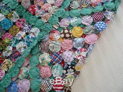 Vtg Hand Made 1 Yo-Yo Quilt Coverlet Comforter 96 x 108 Bedspread Queen Full