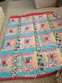 Vtg Hand made Quilt Stitched Colorful Boho Hippie 62 x 80
