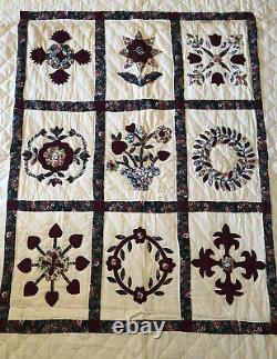 Vtg Handmade Amish Quilt Maroon Hearts Floral Square Pattern Patchwork 64x82