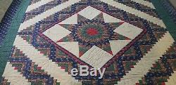 Vtg Handmade Patchwork Quilt Evening Lone Star