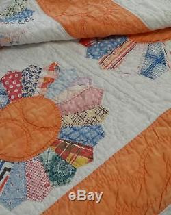 Vtg Handmade Quilt 78by 78 Beautiful Vtg fabric