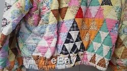 Vtg Handmade Quilt Coat Jacket Authentic Zip Antique Blanket Bed Kas Patchwork