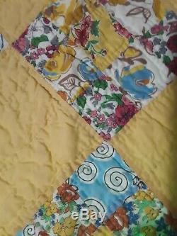 Vtg Handmade Quilt NINE PATCH 1930s Green/Yellow Vibrant Multi Color One Owner