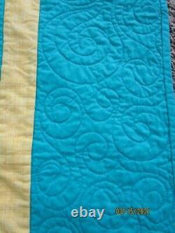Vtg Handmade Star Quilt, Beach House Perfect, Rare King 106 X 96, Teal Yellow Euc