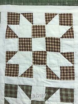 Vtg Queen Handmade Patchwork Quilt Sawtooth Star Bedspread, Rustic, Wall Hanging