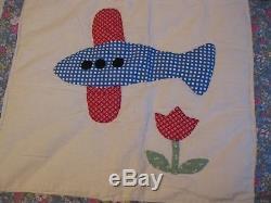 Vtg Quilt Appliqued Cat Feedsack Cotton Handmade Frog Plane House Bird New