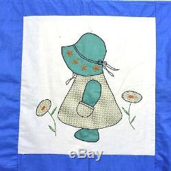 Vtg Unfinished Sunbonnet Sue Quilt Top Cotton Appliqué Embroidery