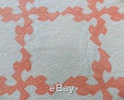 Vtg handmade applique zigzag quilt 75 x 72 calico full double peaches & cream