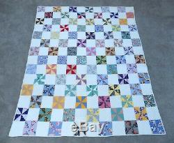 Vtg handmade patchwork pinwheel quilt 67 x 82 calico full double feedsack