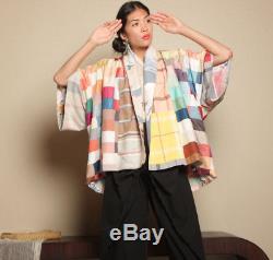 Vtg ooak FIBER ART patchwork QUILT reversible handmade cotton kimono jacket coat