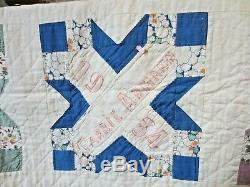 WOW! Vintage antique friendship quilt 1934/1935 56 squares hand made quilted