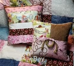Western Cowgirl Rodeo Princess Vintage Chenille Baby Girl Quilt Crib Bedding