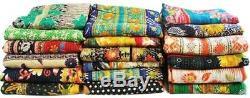 Wholesale lot 100 pcs Kantha Quilt Old Vintage Handmade Blanket Throw Reversible
