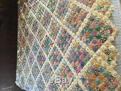 YO-YO Vintage Antique Large Handmade YOYO Quilt 80.5 x 94.5 Feedsack Cottons