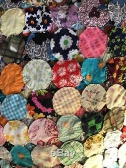 Yo Yo Patchwork Quilt Vintage Handmade Queen Double bedspread bed