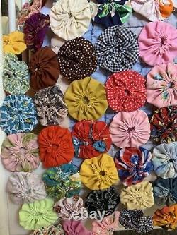 YoYo Rainbow Quilt Queen Coverlet Handmade Vintage Cotton Prints Farmhouse