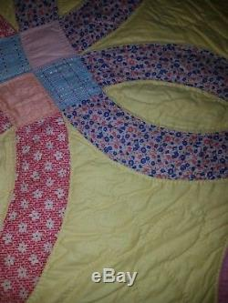 (never Used) Vintage Handmade Double Wedding Ring Quilt 88 X 76
